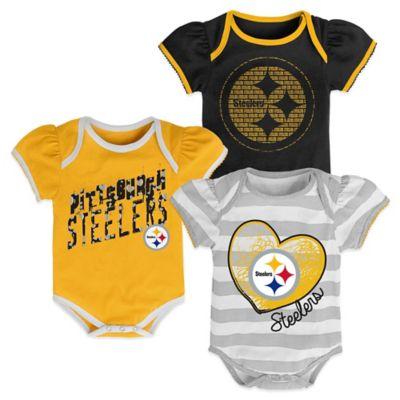NFL Size 18M 3-Piece Pittsburgh Steelers Bodysuit Set