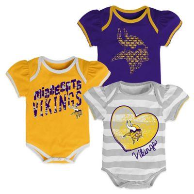 Size 18M 3-Piece Minnesota Vikings Bodysuit Set