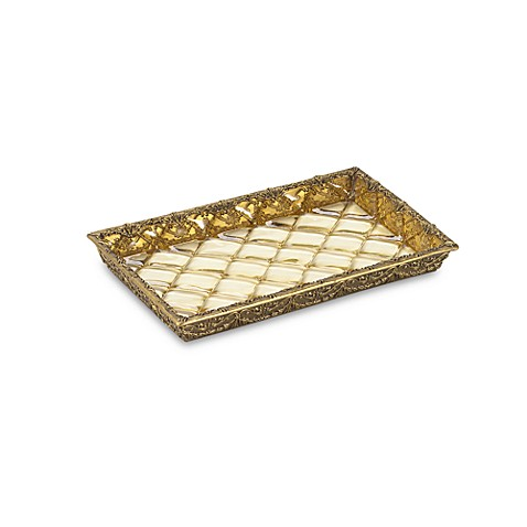 Crystal Bell Gold Guest Towel Holder Tray
