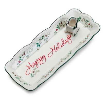Pfaltzgraff® Winterberry Appetizer Tray with Sleigh Toothpick Holder