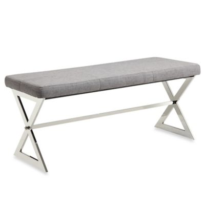 Verona Home Iriona Chrome X-Base Bench in Cowhide Print Fabric