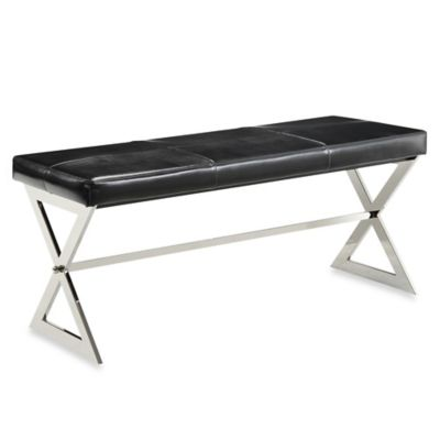 Verona Home Iriona Chrome X-Base Bench in Black Bonded Leather