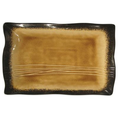 Baum Galaxy Rectangular Serving Platter in Amber