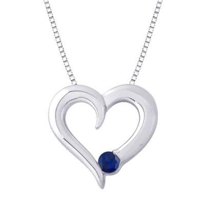 Sterling Silver .14 cttw Sapphire September Birthstone Heart Pendant