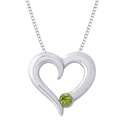 Sterling Silver .15 cttw Peridot August Birthstone Heart Pendant