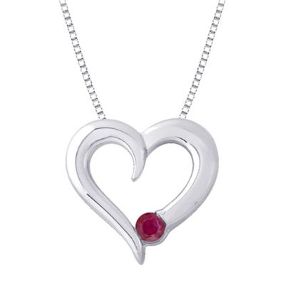 Sterling Silver .14 cttw Ruby July Birthstone Heart Pendant