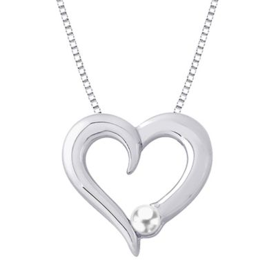 Sterling Silver 4.2mm Freshwater Cultured Pearl June Birthstone Heart Pendant