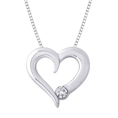 Sterling Silver .14 cttw Diamond April Birthstone Heart Pendant