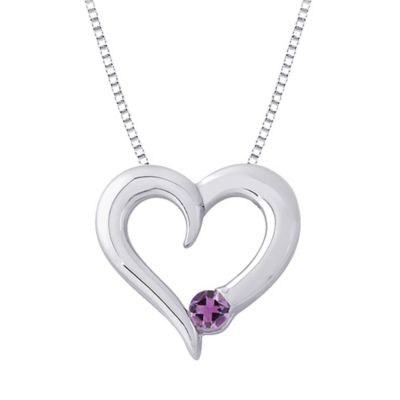 Sterling Silver .15 cttw Amethyst February Birthstone Heart Pendant