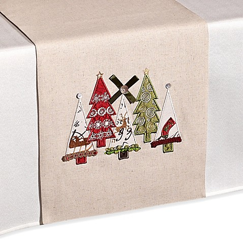 Christmas Tree Applique Table Runner Bed Bath Amp Beyond