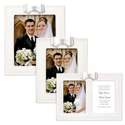 Grasslands Road® 5-Inch x 7-Inch Porcelain Wedding Picture Frame with Resin Bow