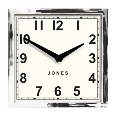 Jones® Clocks Box Wall Clock in Chrome