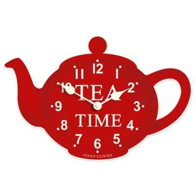 Jones® Clocks Teapot Wall Clock in Red