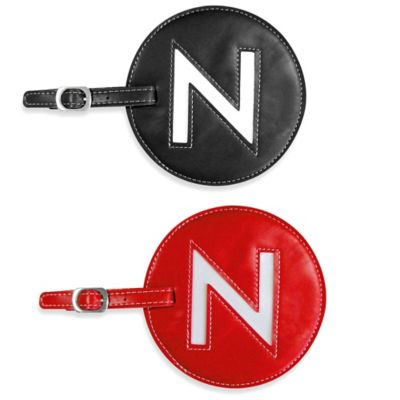 "Initial ""N"" Luggage Tag in Black"