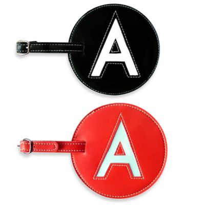 "Initial ""A"" Luggage Tag in Black"