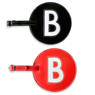 "Initial ""B"" Luggage Tag in Black"