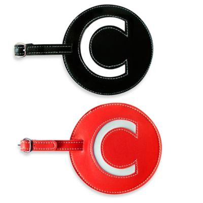"Initial ""C"" Luggage Tag in Black"