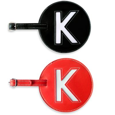 "Initial ""K"" Luggage Tag in Black"