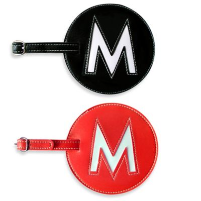 "Initial ""M"" Luggage Tag in Black"