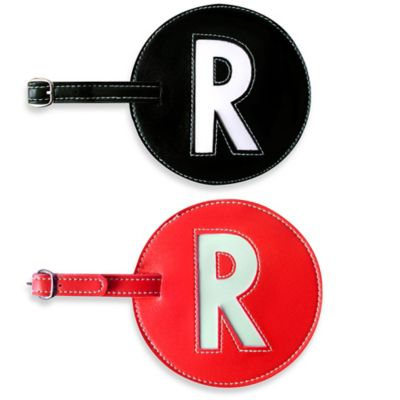 "Initial ""R"" Luggage Tag in Black"