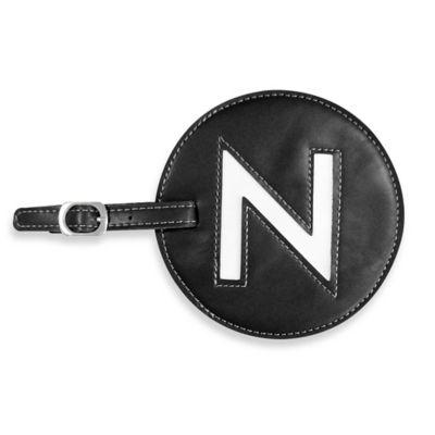 """Initial """"N"""" Luggage Tag in Black"""