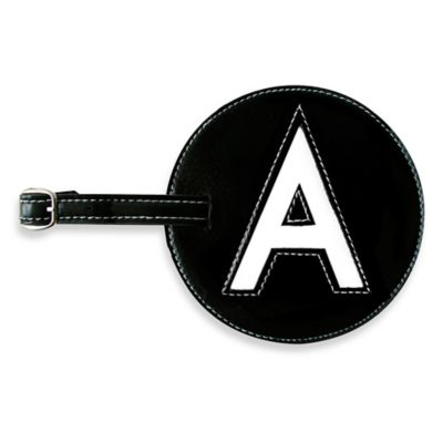"""Initial """"A"""" Luggage Tag in Black"""