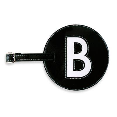 "Initial ""B"" Luggage Tag in Black"