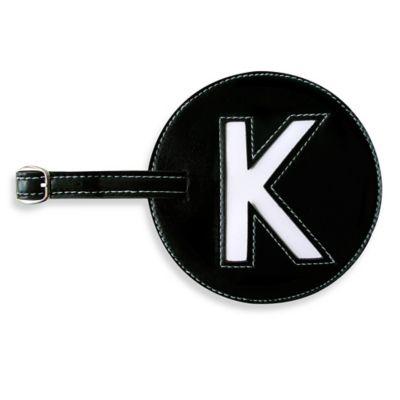 "Initial ""K"" Luggage Tag in Black"