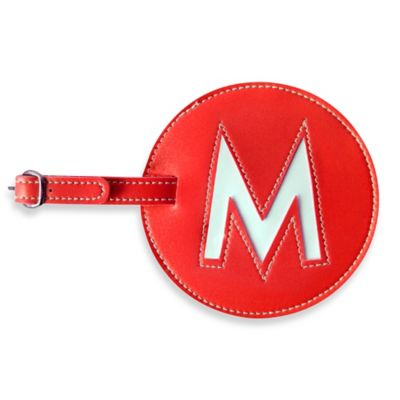 """Initial """"M"""" Luggage Tag in Red"""