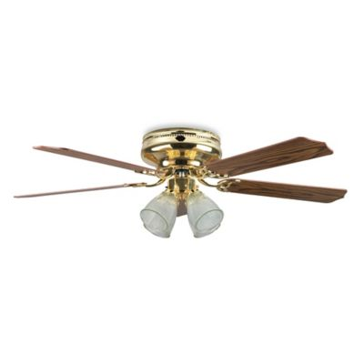 Concord Fans Montego Bay Deluxe 52-Inch Ceiling Fan in Polished Brass with Light/Dark Oak Blades