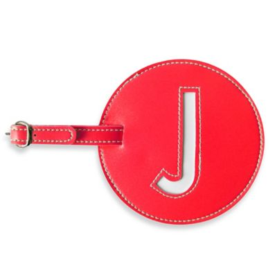 "Initial ""J"" Luggage Tag in Red"