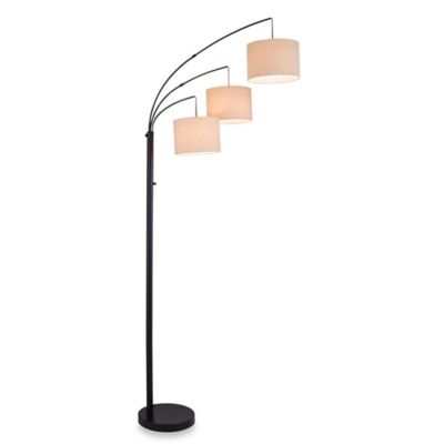 Adesso® 3-Arc Floor Lamp in Satin Steel with Burlap Shades