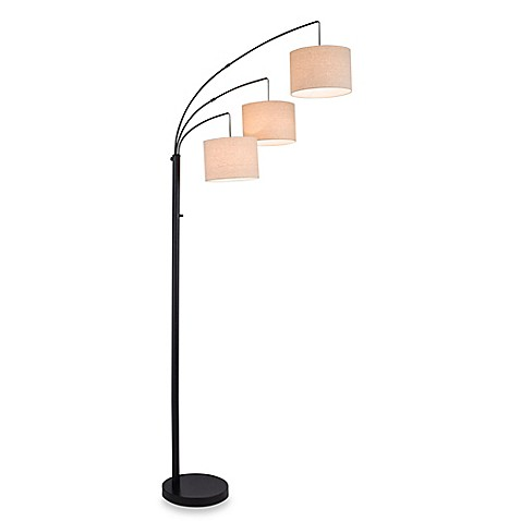 Adesso 3 arc floor lamp in satin steel with burlap shades - Arc floor lamp shade ...