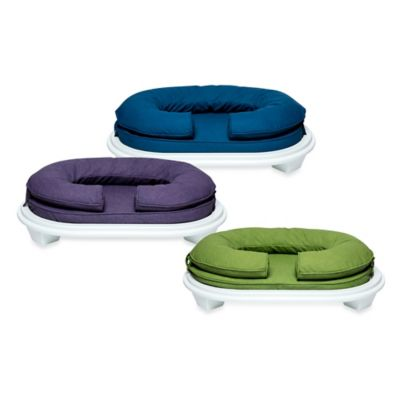 Katherine Elizabeth Small Lucky Bolster Pet Bed in Ballpointe Blue with White Ottoman