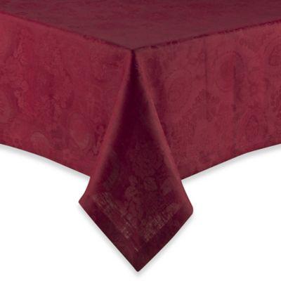 Garnier-Thiebaut 118-Inch Oblong Mille Datcha Linen Tablecloth in Aubergine
