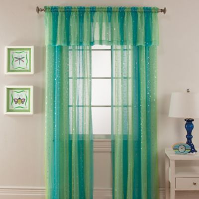 Mermaid Rod Pocket Window Curtain Valance in Aqua