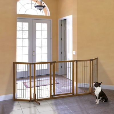 Richell Premium Plus Wide Freestanding Pet Gate with Door