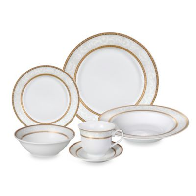Lorren Home Trends Amelia Lace 24-Piece Dinnerware Set