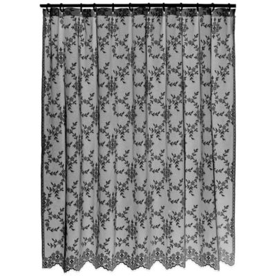 Downton Abbey® Yorkshire Collection Lace Shower Curtain in Black