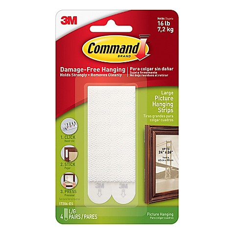 3M Command™ 4-Pack Large Picture Hanging Strips - Bed Bath ...