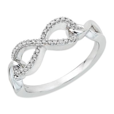 Sterling Silver .13 cttw Diamond Size 7 Ladies' Infinity Ring