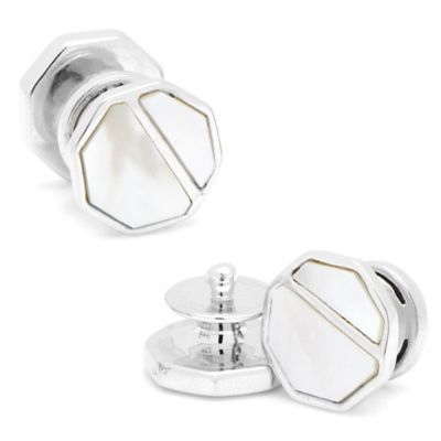Sterling Silver Bisected Mother of Pearl Cufflinks