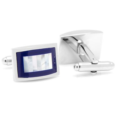 Silver-Plated Lapis and Mother of Pearl Rectangular Cufflinks