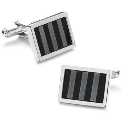 Silver-Plated Onyx and Hematite Striped Mosaic Cufflinks
