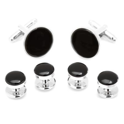 Silver-Plated Onyx Stud and Cufflink Set