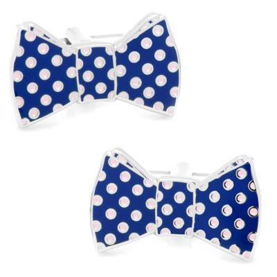 Polka Dot Bow Tie Cufflinks in Navy/Pink
