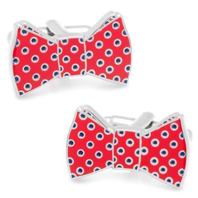 Polka Dot Bow Tie Cufflinks in Red/Navy