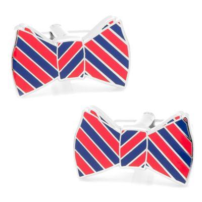 Striped Bow Tie Cufflinks in Red/Navy