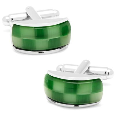 Silver-Plated Green Cat's Eye Fiber Optic Checker Bar Cufflinks