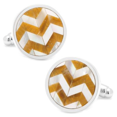 Silver-Plated Tiger's Eye and Mother of Pearl Round Chevron Cufflinks